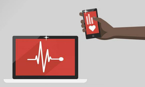 Illustration of a smarphone and display showing a person's pulse.